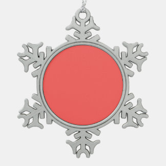 Grapefruit colored snowflake pewter christmas ornament