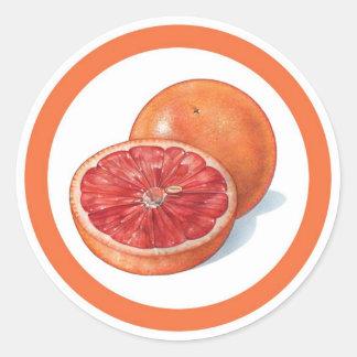 Grapefruit flavor circle sticker labels