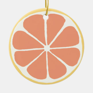 Grapefruit Double-Sided Ceramic Round Christmas Ornament