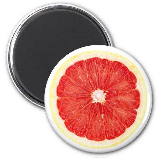 Grapefruit slice 2 inch round magnet