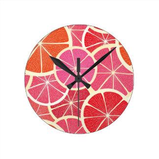 Grapefruit vintage background round clock