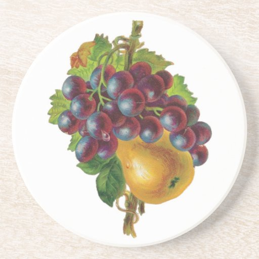 Grapes and A Pear Beverage Coasters