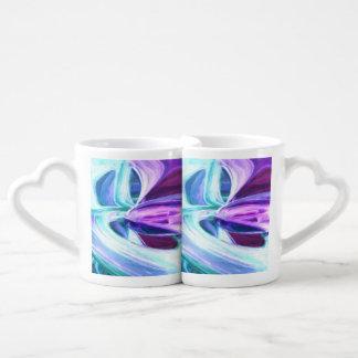 Grapes and Cream Pastel Abstract Coffee Mug Set