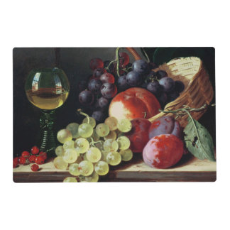 Grapes and plums laminated placemat