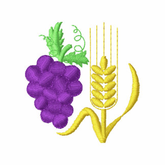 Grapes and Wheat Embroidered Hooded Sweatshirt