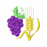 Grapes and Wheat Embroidered Hoody