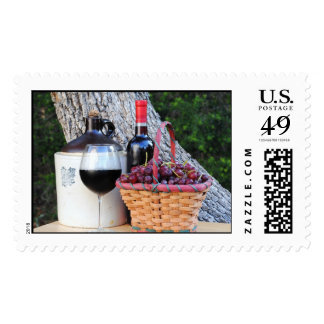 Grapes and Wine Postage Stamp