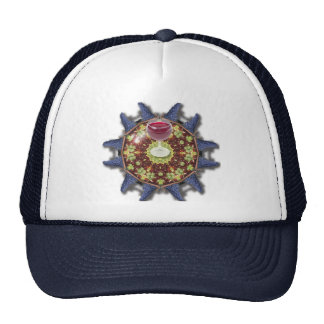 Grapes and wine trucker hat