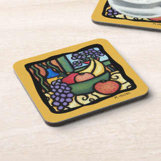 Grapes Apple Oranges Bananas Mixed Fruit Colorful Drink Coaster
