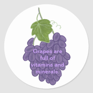 Grapes are full of Vitamins & Minerals Stickers