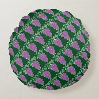 Grapes Bunch with Vine on Green Round Pillow