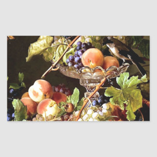 Grapes Fruit Bird Still Life painting Rectangular Sticker