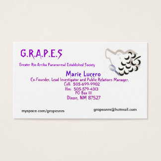 GRAPES Logo, Marie Lucero, PO Box ... - Customized Business Card