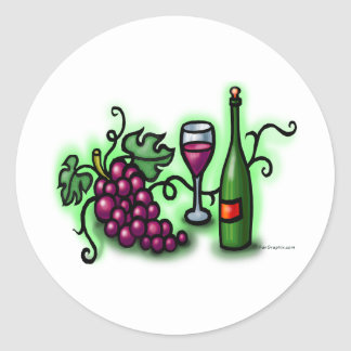 Grapes n Wine Classic Round Sticker