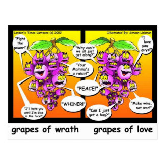 Grapes Of Wrath, Love, & War Funny Gifts & Tees Postcards