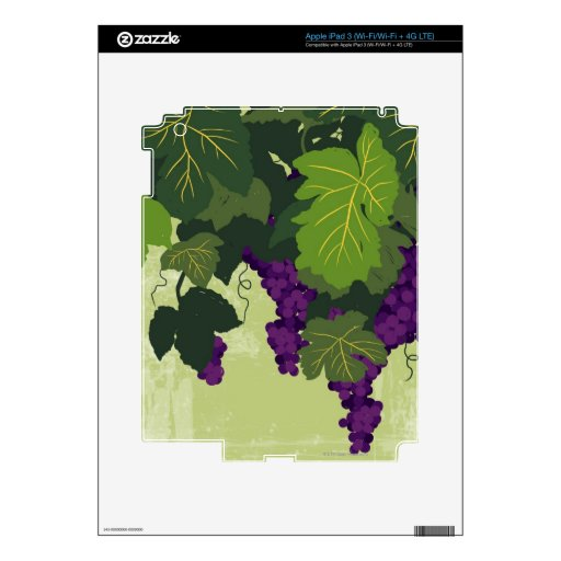 Grapes on the Vine Decals For iPad 3