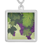 Grapes on the Vine Silver Plated Necklace