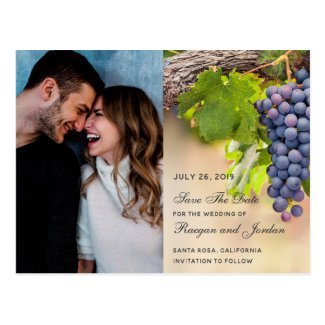 Grapes on Vines Photo Save the Date Card