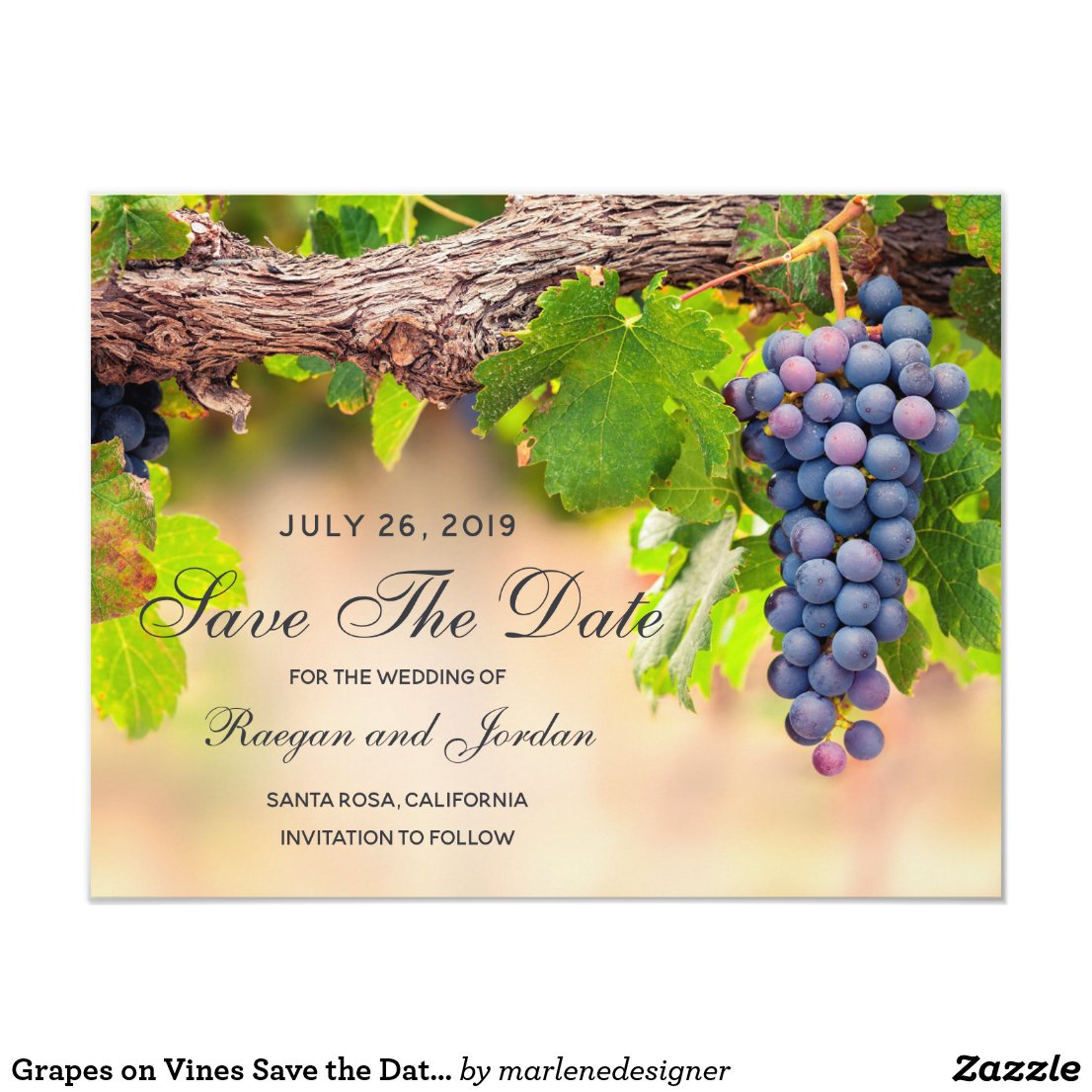 Grapes on Vines Save the Date Card