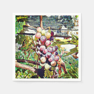 Grapes. Paper Napkin