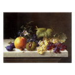 Grapes Plums Etc. On A Marble Ledge Print