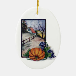 Grapes, Pumpkin and Home, Vintage Thanksgiving Ceramic Ornament