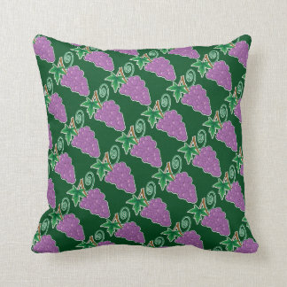 Grapes Purple and Green Throw Pillow