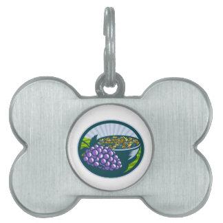 Grapes Raisins Bowl Oval Woodcut Pet ID Tag