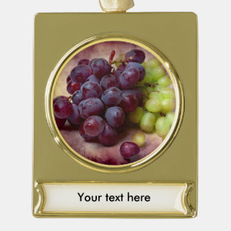 Grapes Red And Green Gold Plated Banner Ornament