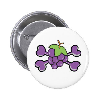grapes Skull purple Crossbones Pinback Button