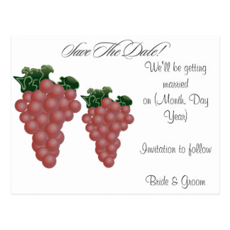 Grapes/Vineyard Custom Save the Date Postcards