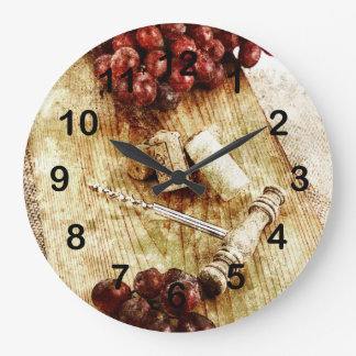 Grapes, wine bottle corks and corkscrew wall clocks