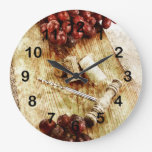 Grapes, wine bottle corks and corkscrew large clock