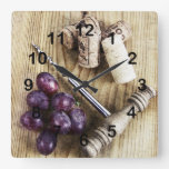 Grapes, wine bottle corks and corkscrew square wall clock