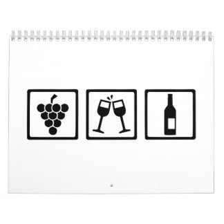 Grapes wine glasses bottle calendar