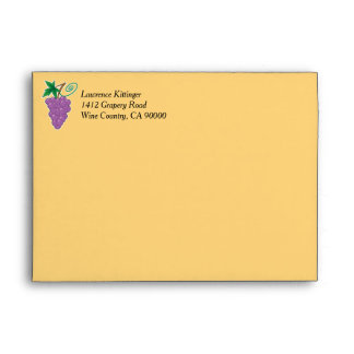 Grapes with Return Address Text Envelope