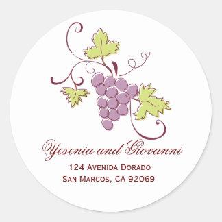 Grapevine Address Labels Classic Round Sticker