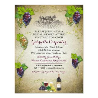 Grapevine Vineyard Bridal Shower 4.25x5.5 Paper Invitation Card