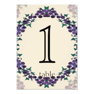 Grapevine Wreath Anniversary Table Number Cards