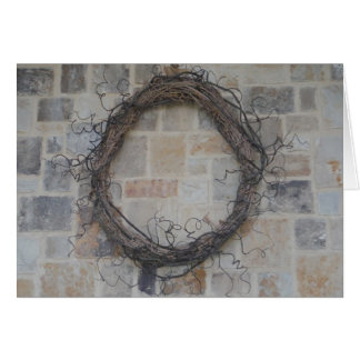 Grapevine Wreath on stone fireplace Cards
