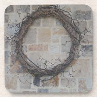Grapevine Wreath on stone fireplace Beverage Coasters