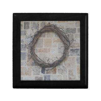 Grapevine Wreath on stone fireplace Gift Boxes