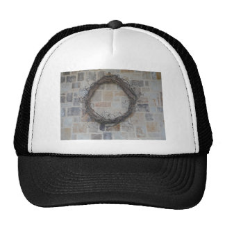 Grapevine Wreath on stone fireplace Hat