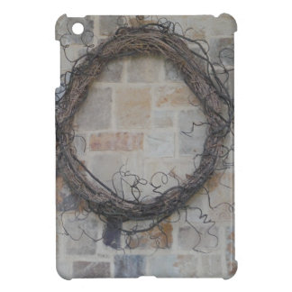 Grapevine Wreath on stone fireplace Cover For The iPad Mini