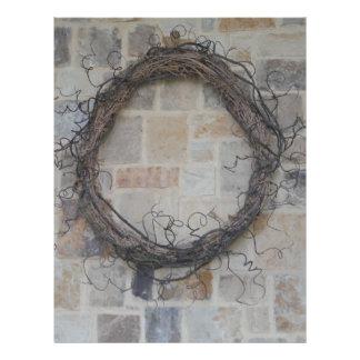 Grapevine Wreath on stone fireplace Letterhead Design