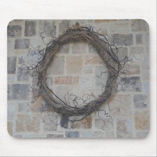 Grapevine Wreath on stone fireplace Mousepad