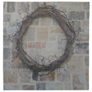 Grapevine Wreath on stone fireplace Napkin