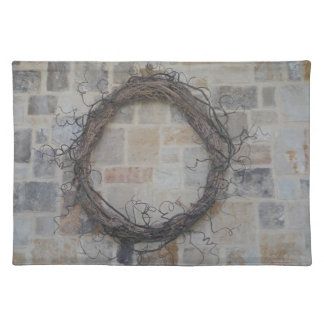 Grapevine Wreath on stone fireplace Placemats