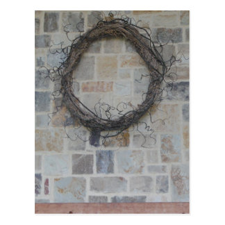 Grapevine Wreath on stone fireplace Post Cards