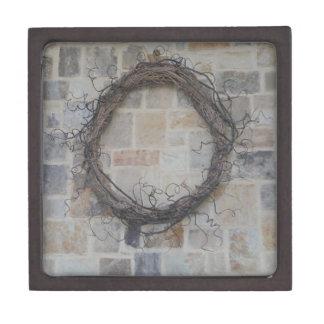 Grapevine Wreath on stone fireplace Premium Keepsake Boxes